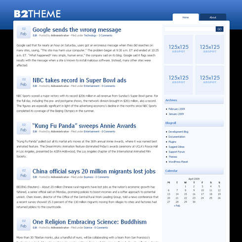 b2theme WordPress Theme